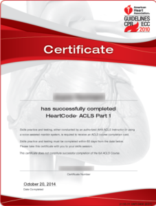 ACLS Online Course Certificate