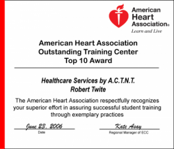 American Heart Association Top 10 Training Center Award