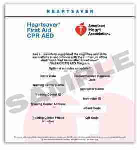 Heartsaver First Aid CPR AED eCard