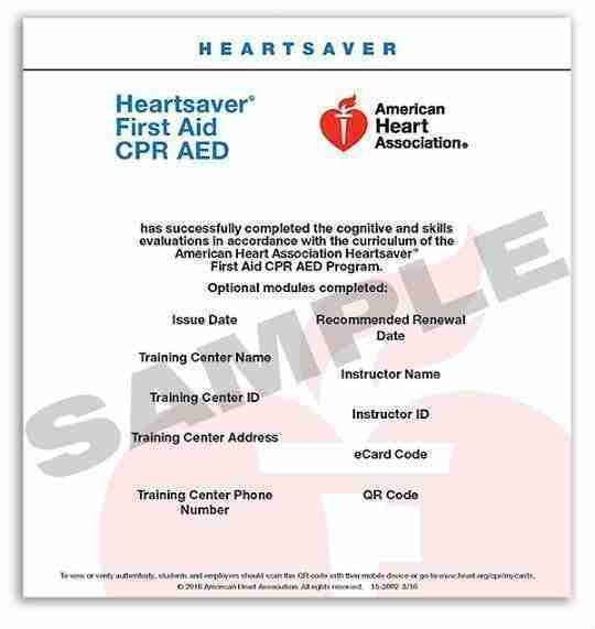 American Heart Association Heartsaver ecard