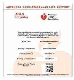 American Heart Association ACLS ecard
